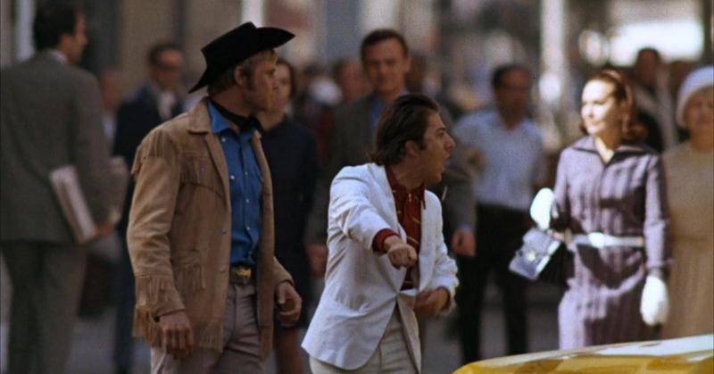 Kadr zfilmu <em>Nocny kowboj</em>, reż. John Schlesinger, 1969.