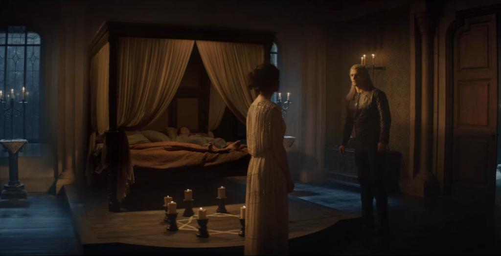 Kadr zserialu <em>Wiedźmin</em>, 2019. Adaptacja opowiadania <em>Ostatnie życzenie</em>.
