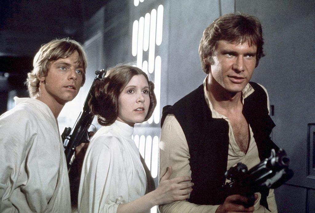 Kadr zfilmu <em>Gwiezdne Wojny: część IV – Nowa nadzieja</em>, reż. George Lucas, 1977.