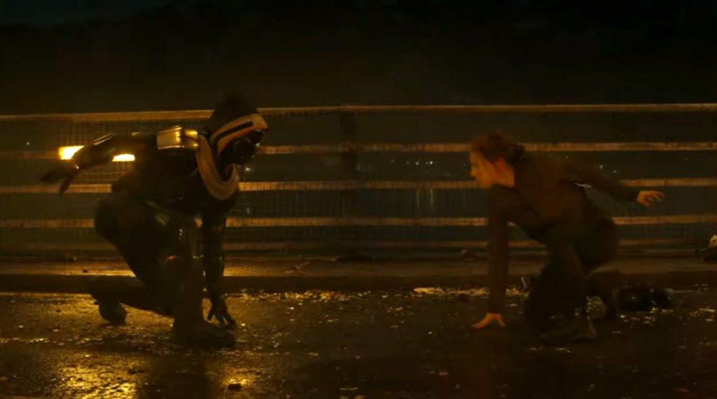 Taskmaster wakcji. Kadr ztrailera filmu <em>Czarna Wdowa</em>, 2020.
