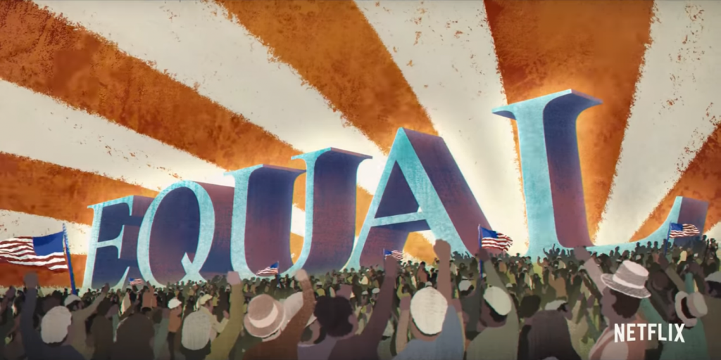Kadr zserialu <em>Obywatelska walka oAmerykę</em>, 2021.